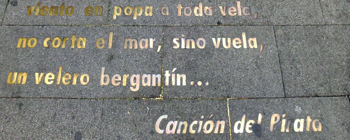 """Schriftzug """"Canción del Pirata"""" von José de Espronceda"""