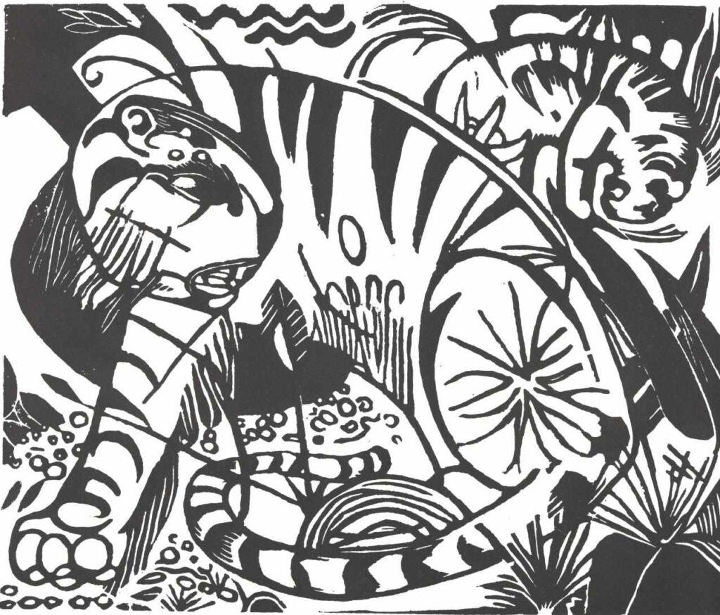 Franz Marc - Tiger Holzschnitt (1912)